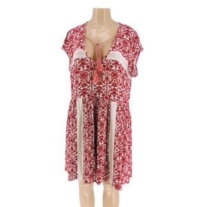 C.O.C. Boho baby doll floral dress with Lace